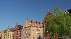 Old houses in a street in Kungsholmen Stockholm Sweden Stock Footage
