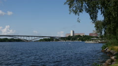 Västerbron bridge in stockholm Sweden Stock Footage