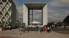 Le Grand Arc de la Defense, Paris Stock Footage