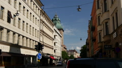 The street in Kungsholmen with Stockholm Court House Stock Footage