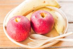 Fresh red gala apples and banana - stock photo