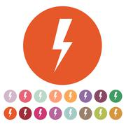 The lightning icon. Power symbol. Flat Stock Illustration