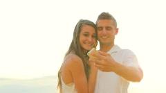 Beach Couple Selfie Stock Footage