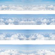 Clouds and blue sky seamless pattern background - stock photo