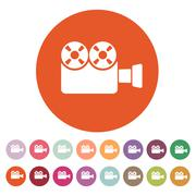 The video camera icon. Camcorder symbol. Flat Stock Illustration