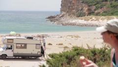 Campers in front of the Altanltic ocean, Algarve Stock Footage