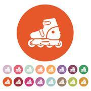 The roller skate icon. Skates symbol. Flat - stock illustration
