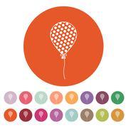 The balloon icon. Holiday symbol. Flat - stock illustration