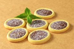 Mini tarts with chocolate coconut filling - stock photo