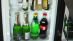 Mini Bar with Bottles of Alcohol Drinks Stock Footage