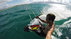Extreme POV Kite Surfing - stock footage