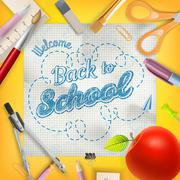 School season invitation template. EPS 10 - stock illustration