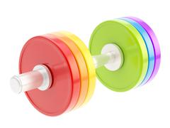 Adjustable colorful dumbbell isolated - stock illustration