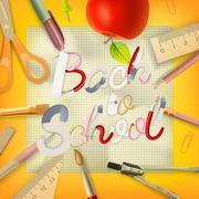 School season invitation template. EPS 10 - stock illustration