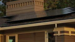 SOLAR PANELS ON RESIDENTIAL ZERO NET ENERGY HOME - stock footage
