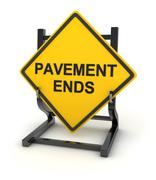 Road sign - pavement ends - stock illustration