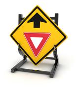 Road sign - give way ahead - stock illustration