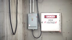 Dangerous High Voltage Electricity Fuse Panel Box Stock Footage