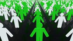 Concept with People figures in white and green Stock Footage