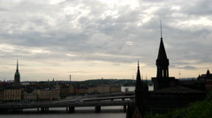 View from Södermalm over Gamla Stan old town Stockholm Sweden Stock Footage