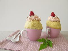 Raspberry mug cake from the microwave - stock photo