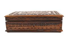 Wooden carved casket isolated Stock Photos