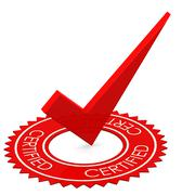Certified red tick in a circle - stock illustration