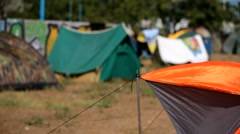 Camping Under A Strong Wind Stock Footage