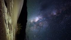 Astrophotography Time Lapse of Milky Way rising over Desert Dunes -Vertical- - stock footage