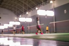 Defocus badminton playing - stock photo