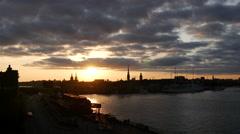 Sunset time lapse Stockholm skyline in Sweden Stock Footage