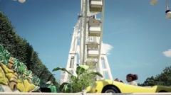 Autorama Ride in Theme Park, Paris - 60fps Arkistovideo