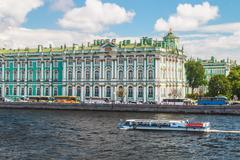 View of Winter Palace from Neva river. St.Petersburg, Russia Stock Photos