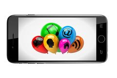 Smartphone Showing a Bunch of Balloons with Icon Symbols on White Background - stock illustration