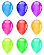 Vibrant Color Isolated Balloons Collection on White Background Illustration - stock illustration