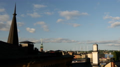 Pan from buildings in Södermalm Stockholm Sweden Stock Footage