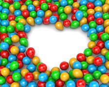 Vibrant Color Balloons Arranged as Heart Frame Shape on White Background 3D I Stock Illustration