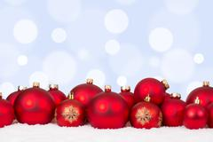 Christmas card red balls ornaments with copyspace - stock photo