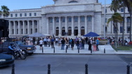 Stock Video Footage of POLICE PATROL IN  MOTORCYCLE while people protest in front of Capitol Building 1