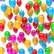 Galore of Vibrant Color Balloons on White Background 3D Illustration - stock illustration