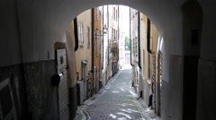 Narrow street in Gamla Stan Old town Stockholm Sweden Stock Footage