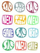 sale slogan button collection in multiple color over white - stock illustration
