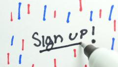 4K Sign Up Being Wrote On Paper Stock Footage