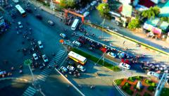Hanoi city traffic aerial view. 4K resolution tilt shift speed up. - stock footage