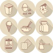 Lunch line vector icons - stock illustration