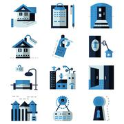 Rent real estate blue flat vector icons Stock Illustration