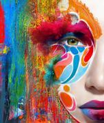 Close up portrait of woman color face Stock Photos