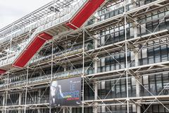 Facade with escalators of the famous Centre Pompidou in Paris, France - stock photo