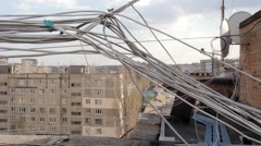 UTP wire on the roof of houses Stock Footage