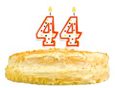 birthday cake candles number forty four isolated - stock photo